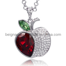 Sw Elements Crystal Light Siam and Peridot Color Apple Shape Necklace