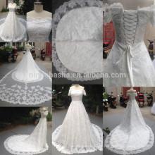 Реальные 2014 off-плечо с коротким рукавом из бисера кружева бальное платье свадебное платье платье со съемной аппликацией длинный хвост NB0862