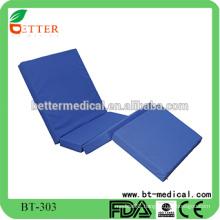 Foldable hospital mattress with four folding