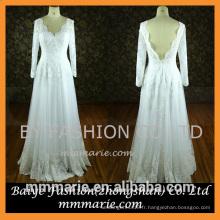 2016 Lace Appliqued Floor Length Custom Made Long Sleeves Robe de mariée formelle Robes de mariée sans dossier