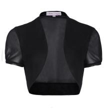 Belle Poque Women's Short Sleeve Cropped Short Black Chiffon Bolero Shrug BP000218-1