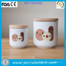 Круглая дешевые белые керамические и бамбука Cookie Jar