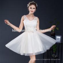 Уникальные короткие тюль V-образным вырезом невесты соответствующие vestidos одежда де Фиеста вечерние платья