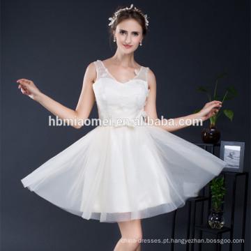 Único curto tule com decote em v da dama de honra roupas combinando vestidos de fiesta vestido de noite
