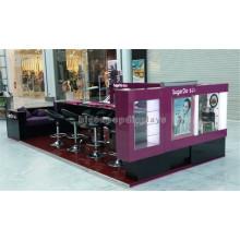 Kundenspezifischer Entwurfs-Schönheits-Salon-Ausrüstung Kundenspezifisches hölzernes Glas, das Nagel-Bar-Kiosk für Maniküre kennzeichnet