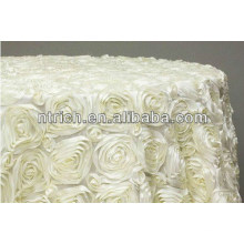 superb hot-sell unique round satin rosette fabric table cloth for wedding