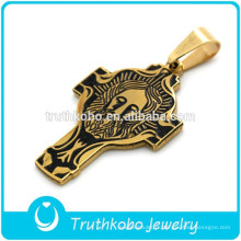 Aspirateur parfait plaqué or en acier inoxydable catholique signification religieuse collier pendentif croix San Benito