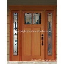 Mahogany Wooden Front Door Design With 2 Side lites