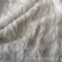 White Embossed Pv Plush Fleece Fabric Polyester