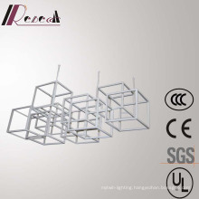 European White Polygon Framework Stainless Steel Modern Pendant Lamp