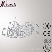 Lâmpada de pendente moderna de aço inoxidável da estrutura branca do polígono europeu