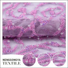 Custom design beautiful mesh embroidered bridal fabric with pearls