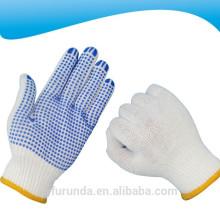 10 gauge branqueado algodão branco malha luvas de trabalho com pontos de PVC na palma