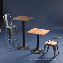 Antique Industrial Wooden Top Tolix Metal Bar Table and Chair (SP-BT703)