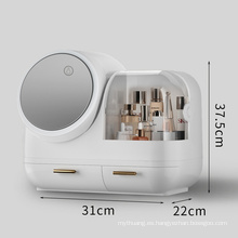 Caja de almacenamiento de cosméticos con espejo iluminado giratorio de 360 °