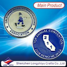 Recuerdo personalizado monedas de metal de aleación de zinc material con esmalte suave, moda barata de la novedad monedas de plata medallas insignias con su propio logotipo de diseño