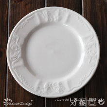 White Porcelain Embossed Classis Design Dinner Plate