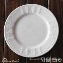 White Porcelain Embossed Classis Design Dinner Plate