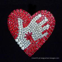 Moda broche coração vermelho Rhinestone corsage epóxi broches moda senhoras casamento broches