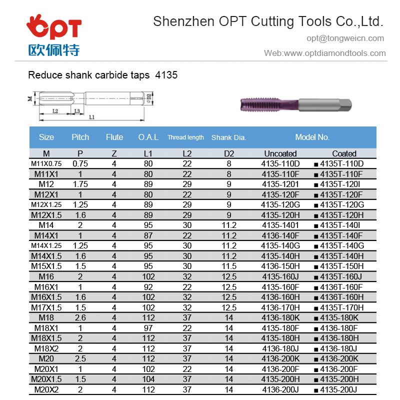 Reduce shank carbide taps 4135-