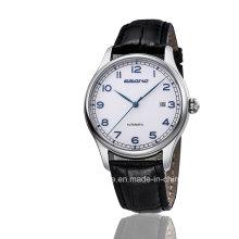 2016 Автоматический кожаный ремешок Цифровой указатель Мужчины Каузальные часы