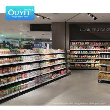 Good Quality Equip Wall For Store Pusher Four Column Shelves Supermarket Shelf Display Supermarket Shelf Display Rack