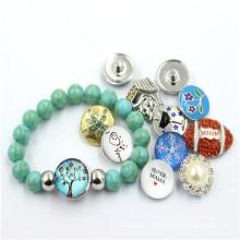 Snap Button Pearl Ювелирный дизайн для девочек 2016 Мода браслет