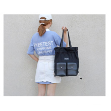Fashion  cotton canvas travel bag large capacity multiple students drawstring backpack