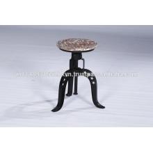 Taburete ajustable de madera ajustable y barra de metal