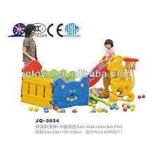 JQ3034 Niños pequeños toboganes de juego de plástico con piscina de bolas