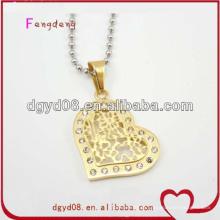 Nice gold heart necklace pingente com cristal para mulheres