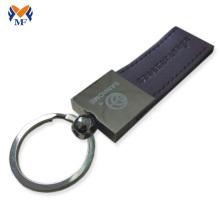 Porte-clés en cuir noir personnalisé avec logo