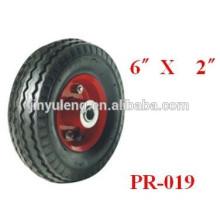 Europa estándar 6x2 pulgadas pequeña rueda de goma neumática del rodamiento ambiental
