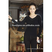 women's V neck 100% cashmere sweater