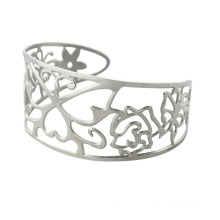 Moda de aço inoxidável oco para fora pulseiras com flor para as mulheres, jóias du bai bangles