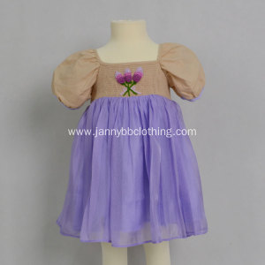 girl puff sleeve summer dress hand embroidery