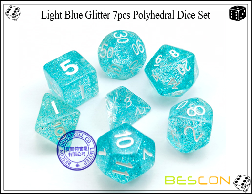 Assorted Colored Glitter 7pcs Polyhedral Dice Set-21