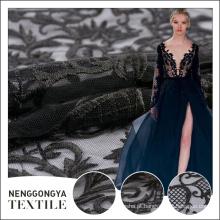 Made in China tecido de poliéster preto bordado na moda