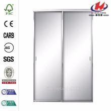 Asprey 48 in. x 81 in. Bright Clear Mirror Aluminum Framed Interior Sliding Door