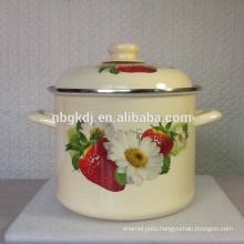 new product enamel stock cooking pot with fruit and flower