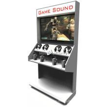 Kundenspezifischer Einzelhandels-Speicher-Standplatz-stehender Kopfhörer-Großverkauf-Computer-Spiel-Zusatz-hölzerner Anzeigen-Standplatz