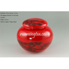 Chinese Landscape painting red glazed tea/coffee canister