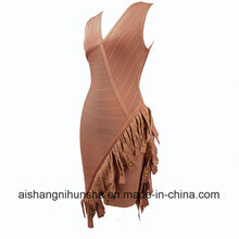 V Neck Tassel Sleeveless Bandage Dress Celebrity Party Dress