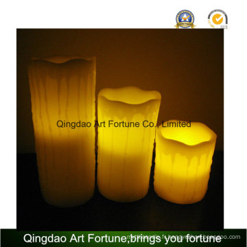 Flameless LED Candle-White Color and Dripping Finish Ensemble de 3