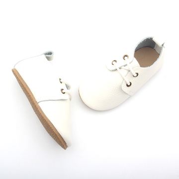 Plain White Gummi Sole Cute Kids Oxford Shoes