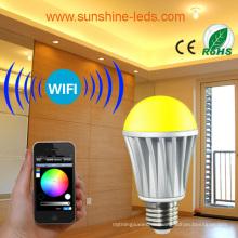 7W drahtloser RGB / RGBW LED WiFi / blaue Zahnbirne mit Steuerpult