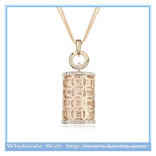 Hot sale 18k gold Austrian crystal hollow magic perfume bottle shape sweater necklace