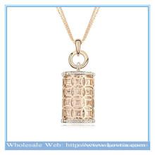 Quente venda 18k ouro austríaco cristal oco mágica perfume garrafa suéter colar forma