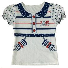 Camiseta de muñeca falsa de la muchacha de los niños de moda con la impresión en la ropa de los niños (SGT-042)