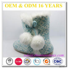 Knitted upper with micro suede outsole snowflake cheap warm indoor boots slipper ladies